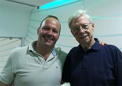 A dental Coordinator with the patient in Cancun.