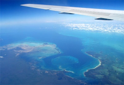 View of the Mexican Caribbean from the sky